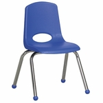 14''H Vented Back Stacking Chair with Matching Seat and Ball Glides with Chrome Legs - Blue [ELR-0194-BL-ECR]