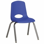 14''H Vented Back Stacking Chair with Chrome Legs and Nylon Swivel Glides - Blue [ELR-0194-BLG-ECR]