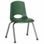 14''H Vented Back Stacking Chair with Matching Seat and Ball Glides with Chrome Legs - Green [ELR-0194-GN-ECR]