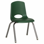 14''H Vented Back Stacking Chair with Chrome Legs and Nylon Swivel Glides - Green [ELR-0194-GNG-ECR]