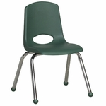 14''H Vented Back Stacking Chair with Matching Seat and Ball Glides with Chrome Legs - Hunter Green [ELR-0194-HG-ECR]