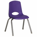 14''H Vented Back Stacking Chair with Chrome Legs and Nylon Swivel Glides - Purple [ELR-0194-PUG-ECR]