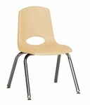 14''H Vented Back Stacking Chair with Chrome Legs and Nylon Swivel Glides - Sand [ELR-0194-SDG-ECR]