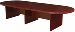 Legacy 144''W Modular Racetrack Wooden Conference Table with Power Data Grommet - Mahogany [LCTRT14452DPELMH-FS-REG]