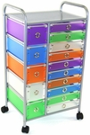 15 Drawer Rolling Utility Storage Cart - Multi Color [363023-FS-DCON]