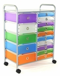 15 Drawer Rolling Utility Storage - 5 Large Drawers & 10 Small Drawers [363024-FS-DCON]