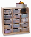 Birch Laminate 15 Tray Storage Cabinet with 15 Clear Storage Trays [WB0915T-FS-WBR]