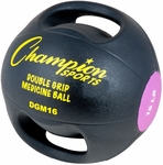 16 lbs. Double Grip Anatomic Medicine Ball in Black and Purple [DGM16-FS-CHS]