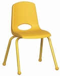16''H Vented Back Stacking Chair with Matching Legs and Ball Glides - Yellow [ELR-2195-YE-ECR]