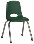 16''H Vented Back Stacking Chair with Matching Seat and Ball Glides with Chrome Legs - Green [ELR-0195-GN-ECR]
