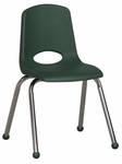 16''H Vented Back Stacking Chair with Matching Seat and Ball Glides with Chrome Legs - Hunter Green [ELR-0195-HG-ECR]