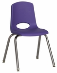 16''H Vented Back Stacking Chair with Chrome Legs and Nylon Swivel Glides - Purple [ELR-0195-PUG-ECR]