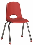16''H Vented Back Stacking Chair with Matching Seat and Ball Glides with Chrome Legs - Red [ELR-0195-RD-ECR]