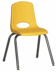 16''H Vented Back Stacking Chair with Chrome Legs and Nylon Swivel Glides - Yellow [ELR-0195-YEG-ECR]