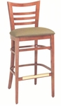 1636 Bar Stool w/ Upholstered Seat & Brass Trim Footrest - Grade 2 [1636-GRADE2-ACF]