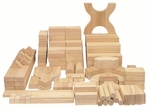 170 Piece Hand-Sanded Solid Hardwood Building Block Set - Uniform 1.25''W [ELR-080-ECR]