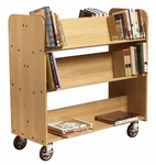 18''D Solid Oak Book Truck with 1 Flat and 4 Sloped Shelves [BT311-DW]