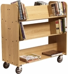 Solid Oak Mobile Book Truck with 2 Flat and 4 Sloped Shelves - 42''W x 18''D x 42.5''H [BT311-DW]