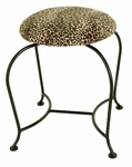 Wrought Iron 18'' Vanity Swivel Stool with Upholstered Seat [GMC-SWV-18-FS-GCM]
