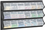 34'' W x 5.25'' D x 20.5'' H Eighteen Pocket Panel Storage Bins With Spring Loaded Covers - Black [6112BL-FS-SAF]