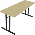 Rectangular Alulite Training Table with Powder Coat Top and Black Folding Legs - 18''W X 60''L [A1860P-SAL]