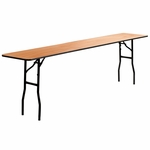 18'' x 96'' Rectangular Wood Folding Training / Seminar Table with Smooth Clear Coated Finished Top [YT-WTFT18X96-TBL-GG]
