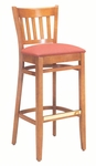 1850 Bar Stool w/ Upholstered Seat & Brass Trim Footrest - Grade 2 [1850-GRADE2-ACF]