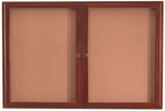 2 Door Enclosed Bulletin Board with Cherry Finish - 36''H x 60''W [CBC3660R-AA]