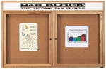 2 Door Enclosed Bulletin Board with Header and Oak Finish - 36''H x 60''W [OBC3660RH-AA]