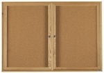 2 Door Enclosed Bulletin Board with Oak Finish 36''H x 60''W [OBC3660R-AA]