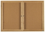 2 Door Enclosed Bulletin Board with Oak Finish - 36''H x 60''W [OBC3660R-AA]