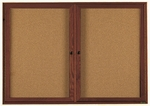2 Door Enclosed Bulletin Board with Walnut Finish - 36''H x 60''W [WBC3660R-AA]
