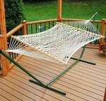 Domestic Deluxe 11' Soft Polyester Rope One Person Hammock - White [4968-FS-ALG]