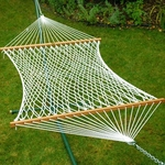 Domestic Deluxe 13' Soft Polyester Rope Two Person Hammock - White [4970-FS-ALG]