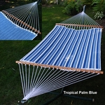Reversible Quilted Polyester Fabric Pocket Design 13' Hammock - Tropical Palm Blue Stripe and Powder Blue Solid [2789W135142-FS-ALG]