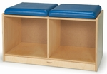 2 Seat Bench Locker with Blue Vinyl Covered Foam Seats [WB0945-FS-WBR]
