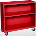 Elite Series 36'' W x 18'' D Two Shelf Mobile Bookcase - Red [BM10-361830-01-EEL]