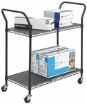 43.75'' W x 19.25'' D x 40.50'' H Two Shelf Wire Utility Cart - Black [5337BL-FS-SAF]
