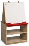Two Station Dry Erase Board Art Easel with Birch Hardwood Storage Base [ELR-0691-ECR]