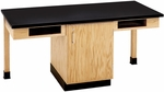 2 Station Wooden Science Table with 1.25'' Thick Black Plastic Laminate Top, Book Storage Compartments, and Locking Cabinet - 66''W x 24''D x 30''D [C2101K-DW]