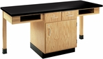 2 Station Wooden Science Table with 1.25'' Thick Black Plastic Laminate Top, Book Storage Compartments, and Locking Drawers - 66''W x 24''D x 30''D [C2201K-DW]