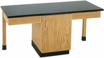 2 Station Wooden Science Table with 1.25'' Thick Black ChemGuard Top and Locking Cabinet - 66''W x 24''D x 30''H [2102K-DW]