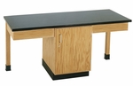 2 Station Science Table with Plain Apron,  Door Cabinet,  and Phenolic Resin Top [2104K-DW]