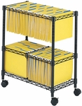 Two Tier Scratch Resistant Rolling File Cart Accommodates Letter and Legal Size Folders - Black [5278BL-FS-SAF]