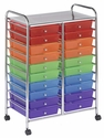 20 Drawer Mobile Organizer with Chrome-Plated Top Shelf and Assorted Colors Pullout Drawers