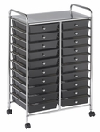 20 Drawer Mobile Organizer with Chrome-Plated Top Shelf and Smoke Colored Pullout Drawers [ELR-011-SM-ECR]