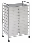 20 Drawer Mobile Organizer with Chrome-Plated Top Shelf and White Pullout Drawers [ELR-011-WH-ECR]