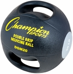 20 lbs. Double Grip Anatomic Medicine Ball in Black and Silver [DGM20-FS-CHS]