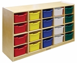 Birch 20 Cubby Tray Cabinet with 20 Assorted Colors Bins - 48''W x 13''D x 30''H