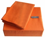 200 Thread Count Orange Solid Color Bright Sheet Set - Twin